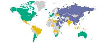ירוק: חופשי; צהוב: חופשי חלקי; סגול: לא חופשי; אפור: מדינות שלא נדגמו
